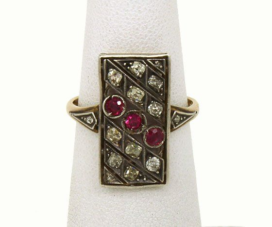 14K GOLD, SILVER, DIAMONDS & RUBIES VICTORIAN RING