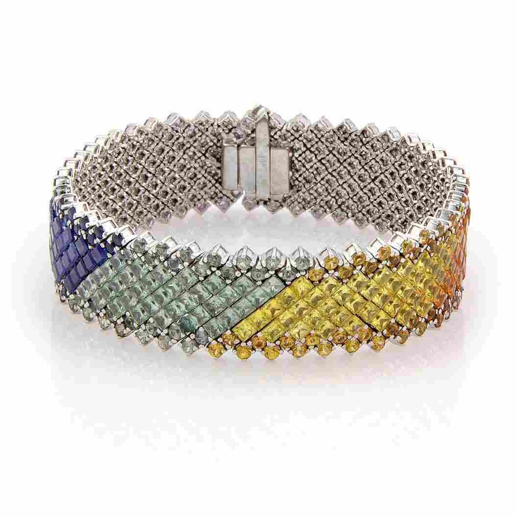 Estate 14K White Gold 60ct Rainbow Sapphire Link