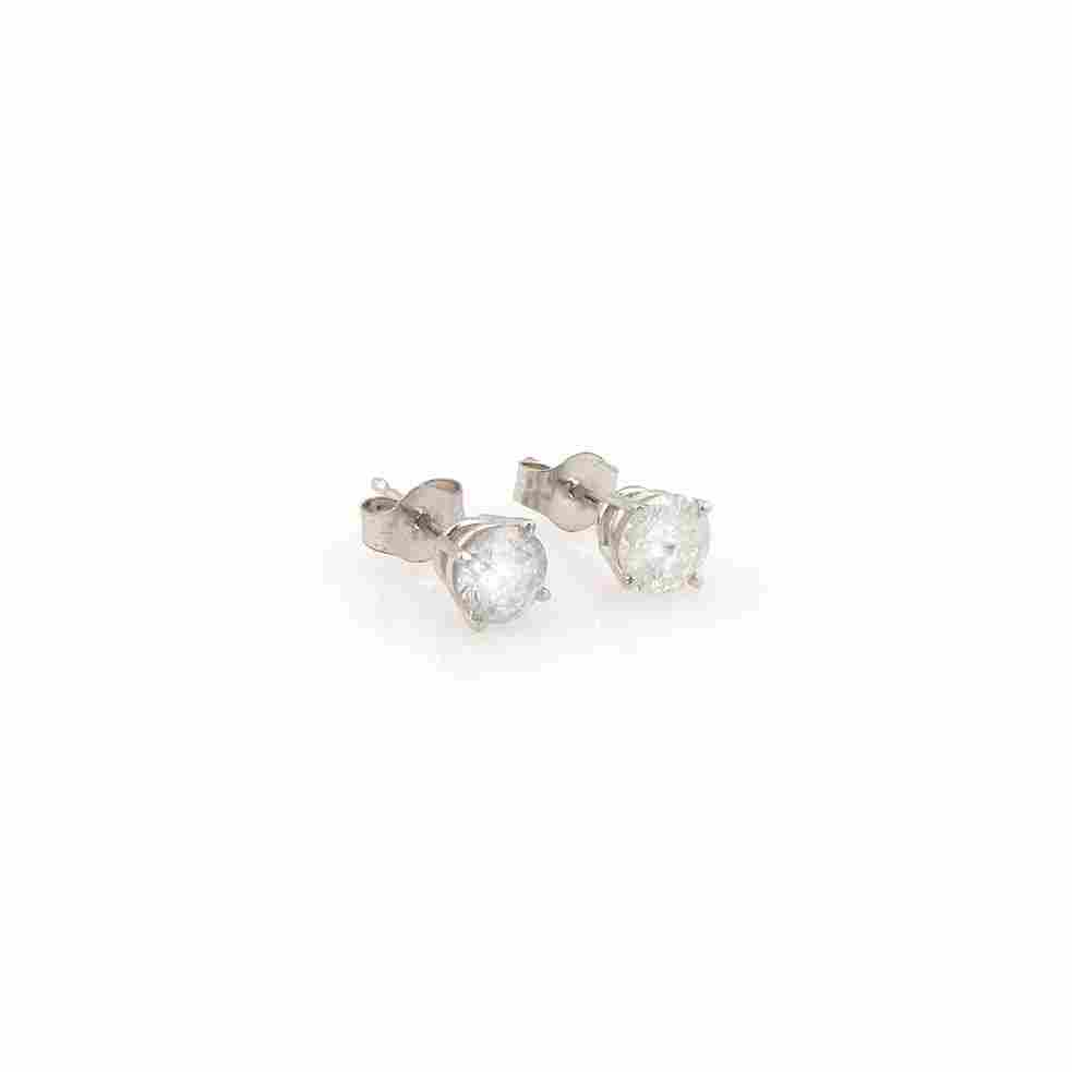 New 14K White Gold 1ct Diamond Stud Earrings