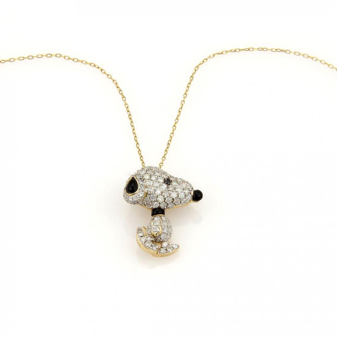 Estate 18K Yellow Gold Pave Diamond Snoopy Pendant