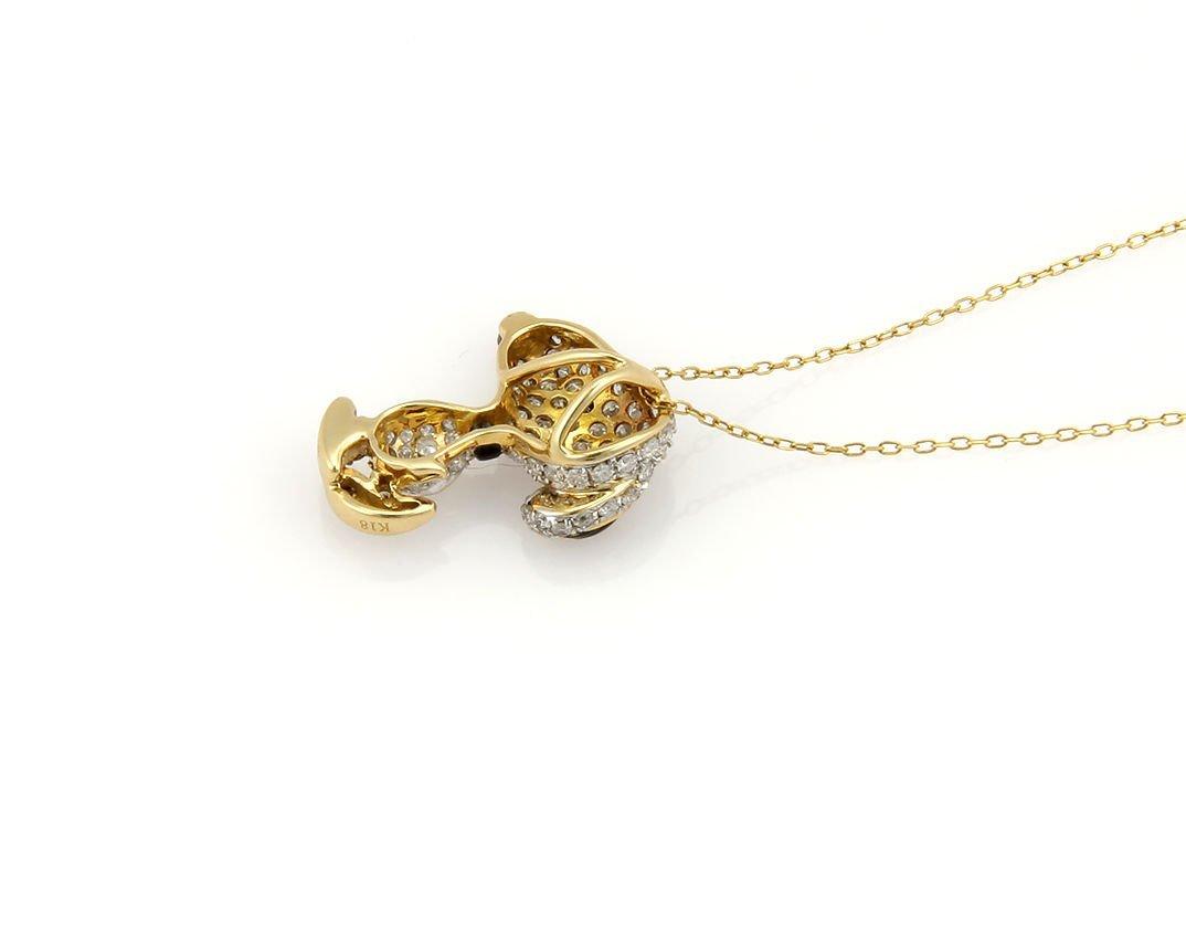 Estate 18K Yellow Gold Pave Diamond Snoopy Pendant - 3