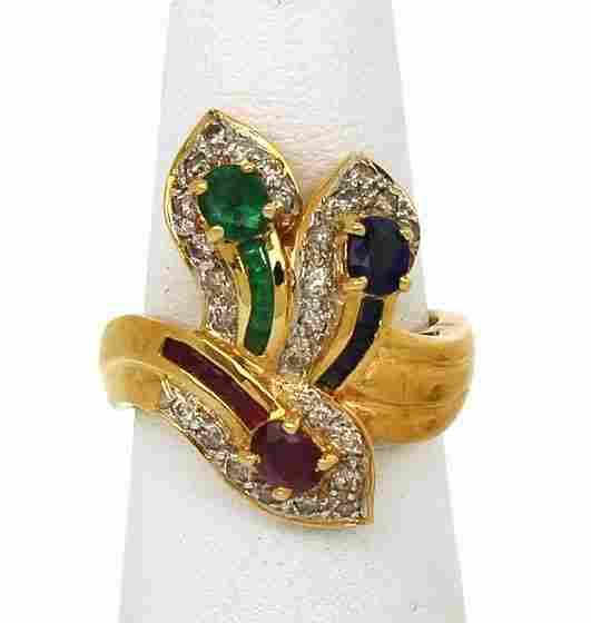 LOVELY 18K GOLD 2.35 CTS DIAMONDS & GEMS LADIES RING
