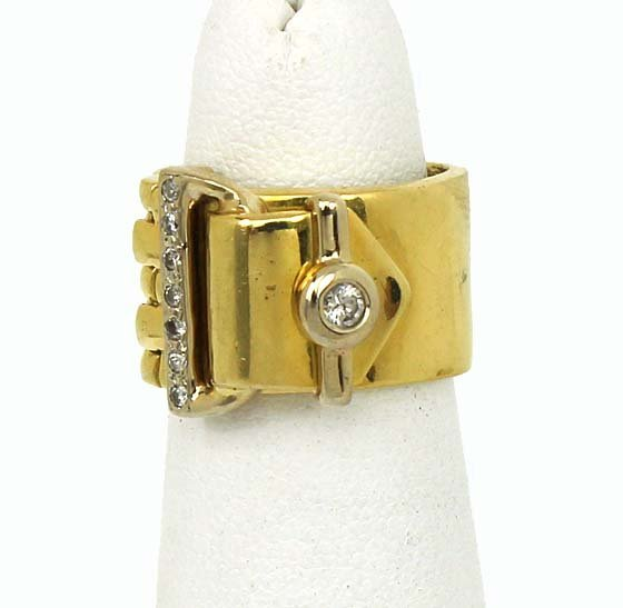VINTAGE 18K GOLD & DIAMOND LADIES FLEX BUCKLE BAND RING
