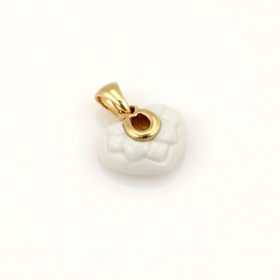 Bvlgari Bulgari 18K Yellow Gold White Ceramic Heart