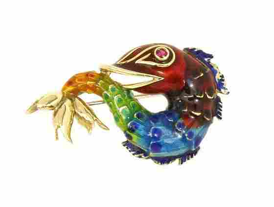AMAZING VINTAGE 14K GOLD ENAMEL 3D KOI FISH PIN BROOCH