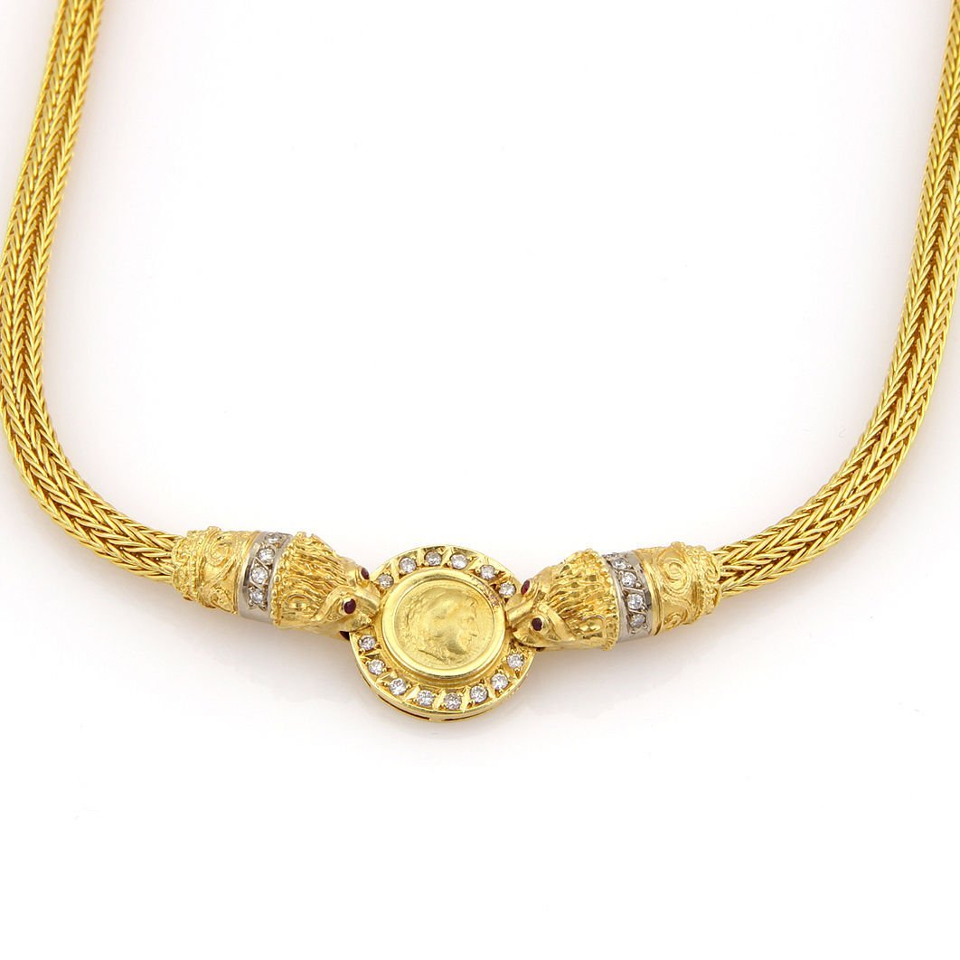 Estate 18K Yellow Gold Diamond & Ruby Greek Medallion