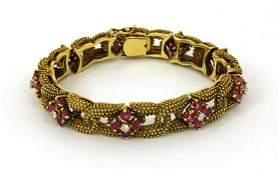 EXQUISITE VINTAGE 18K 8.45 CTS DIAMONDS RUBIES BRACELET