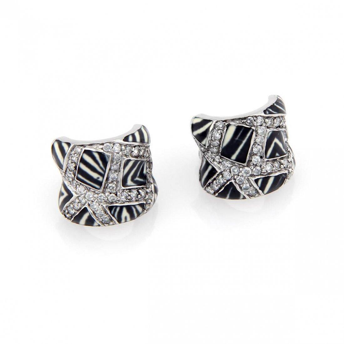 Estate 18K White Gold Fancy Diamond & Zebra Striped