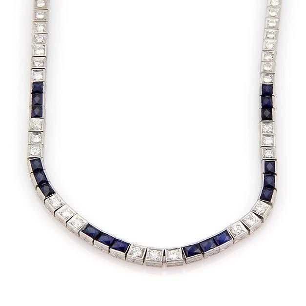 Estate Platinum Art Deco 10ctw Diamond & Sapphire