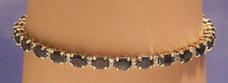 NICE 14k GOLD DIAMOND 9ct SAPPHIRES BRACELET