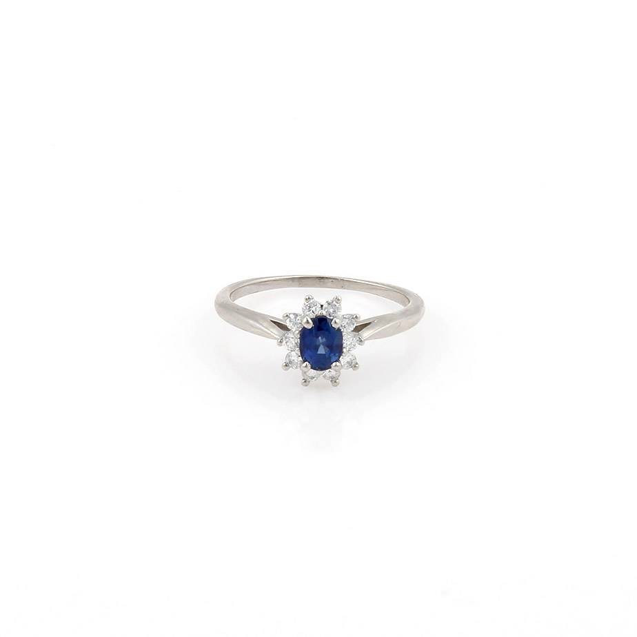 Tiffany & Co. Platinum Diamond & Sapphire Cocktail Ring