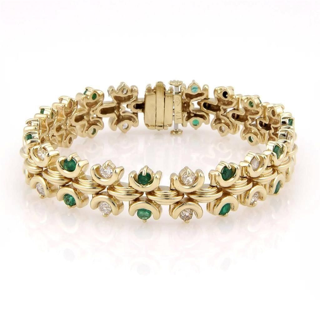 Estate 14K Yellow Gold Fancy Emerald & Diamond Bracelet