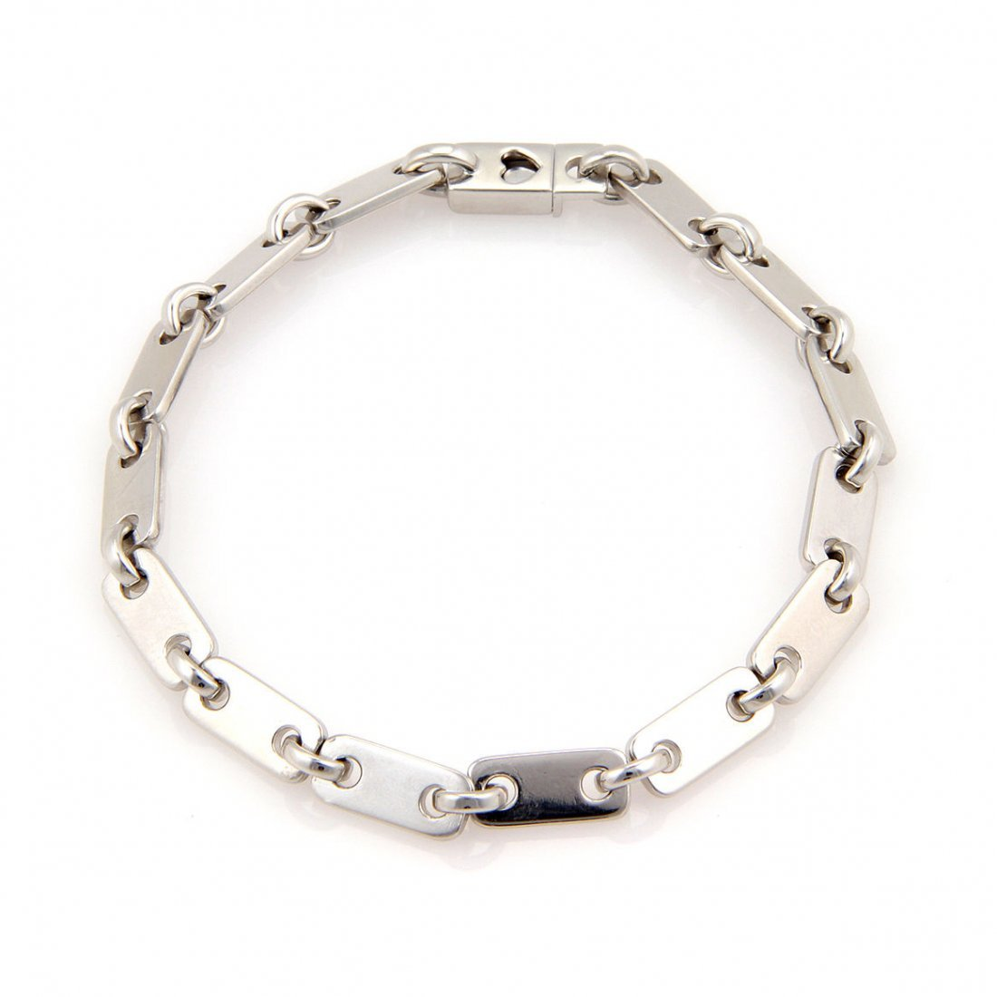 Cartier 18K White Gold Figaro Link Bracelet with