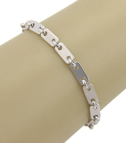 Cartier 18K White Gold Figaro Link Bracelet with - 2