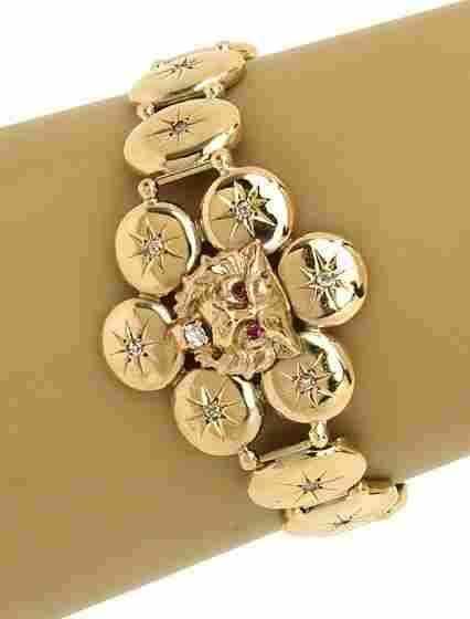 VICTORIAN 10K GOLD & OLD MINE DIAMONDS DRAGON BRACELET