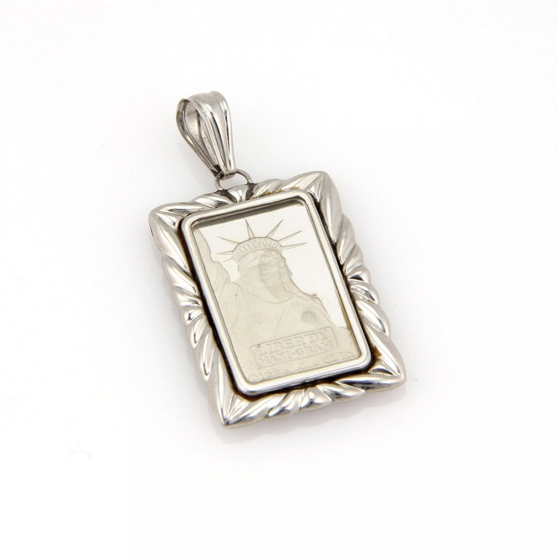 Estate 5g Pure Platinum 1985 Liberty Ingot Coin Pendant