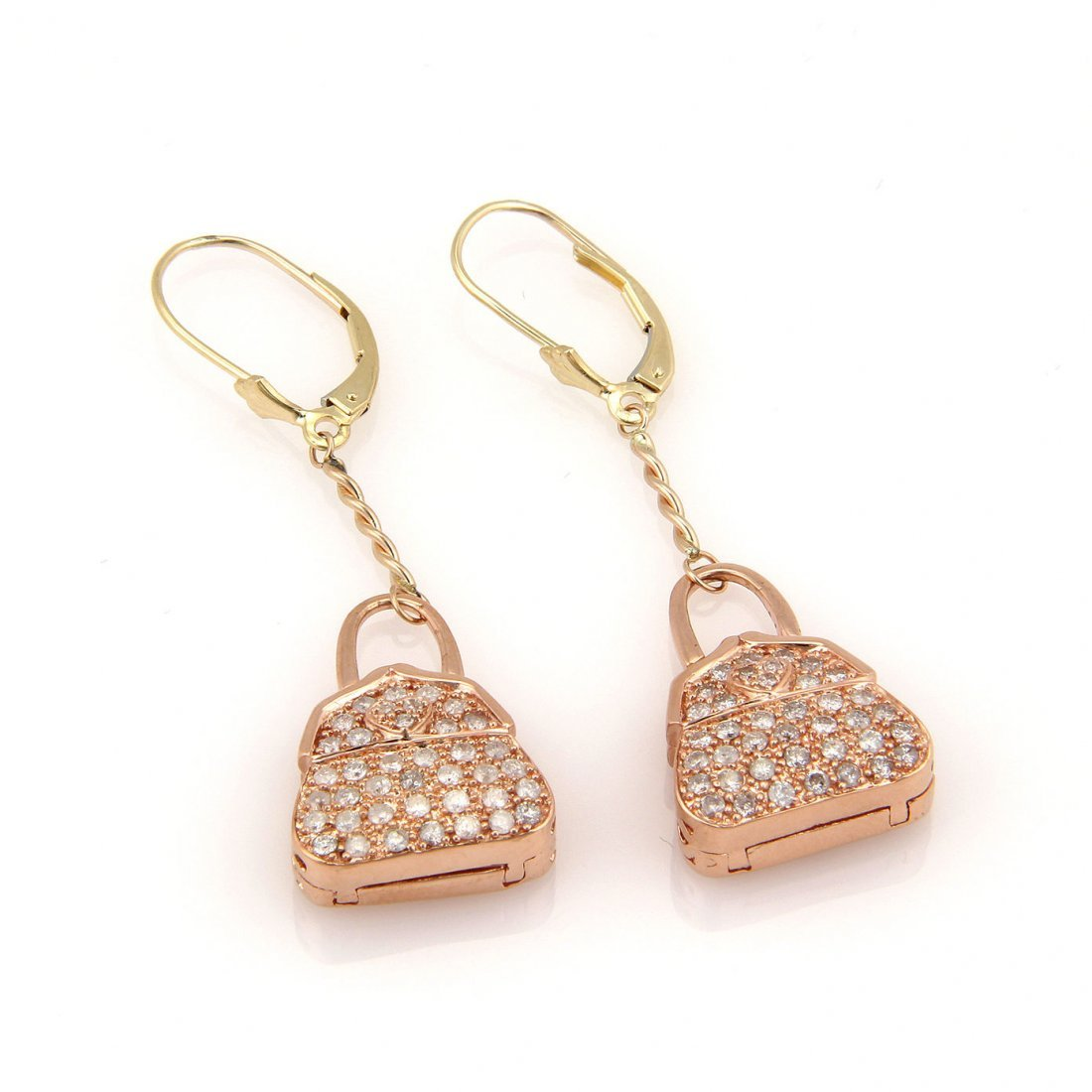 Estate 10K Rose Gold Pave Diamond Hand Bag Locket