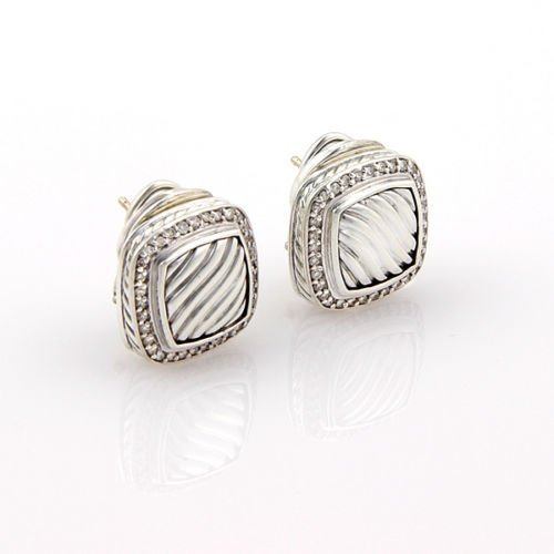 David Yurman Sterling Silver Sculpted Diamond Designer