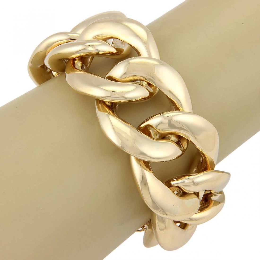 Estate 14K Yellow Gold Extra Large 29mm Curb Link