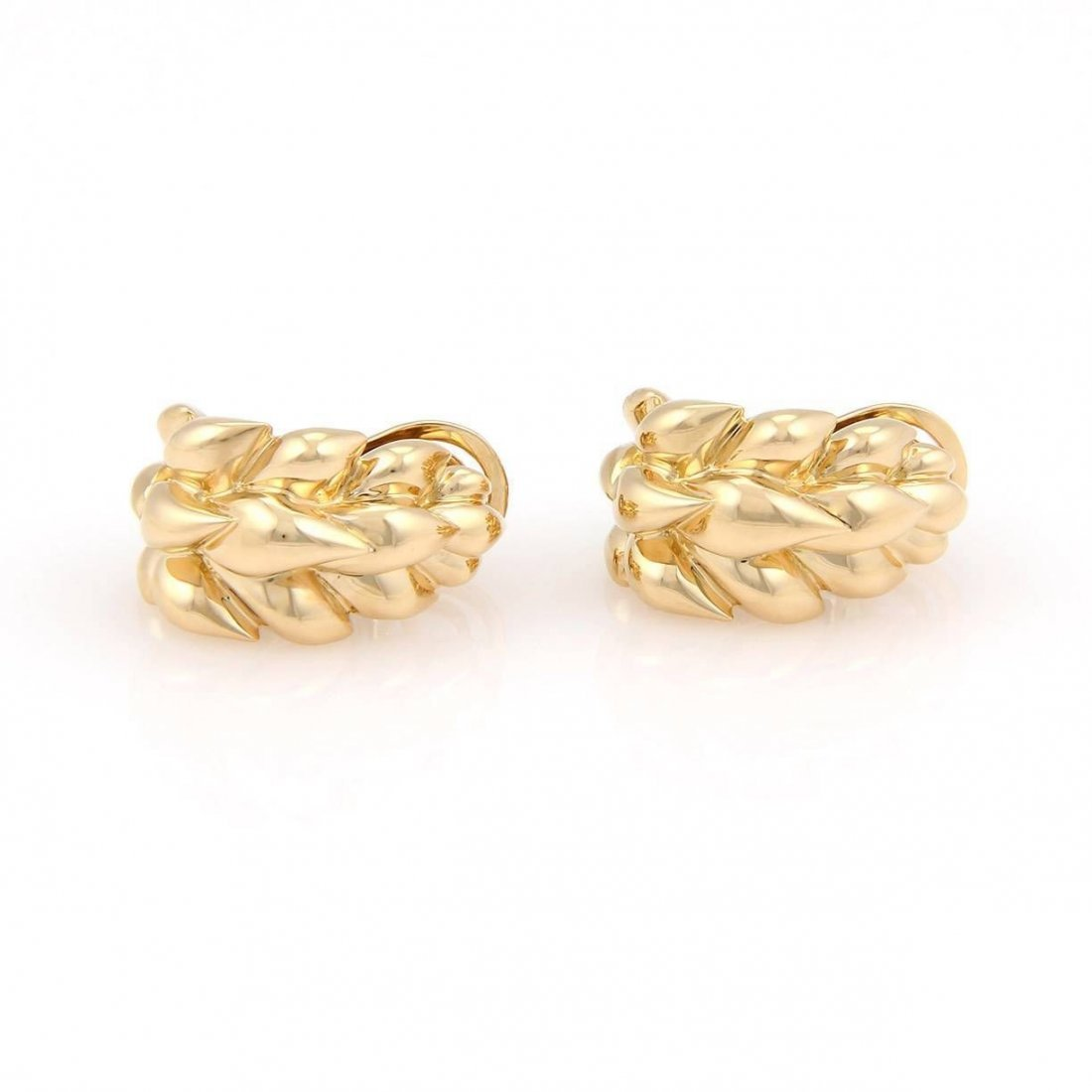 Chanel 18K Yellow Gold Floral Design Huggie Earrings