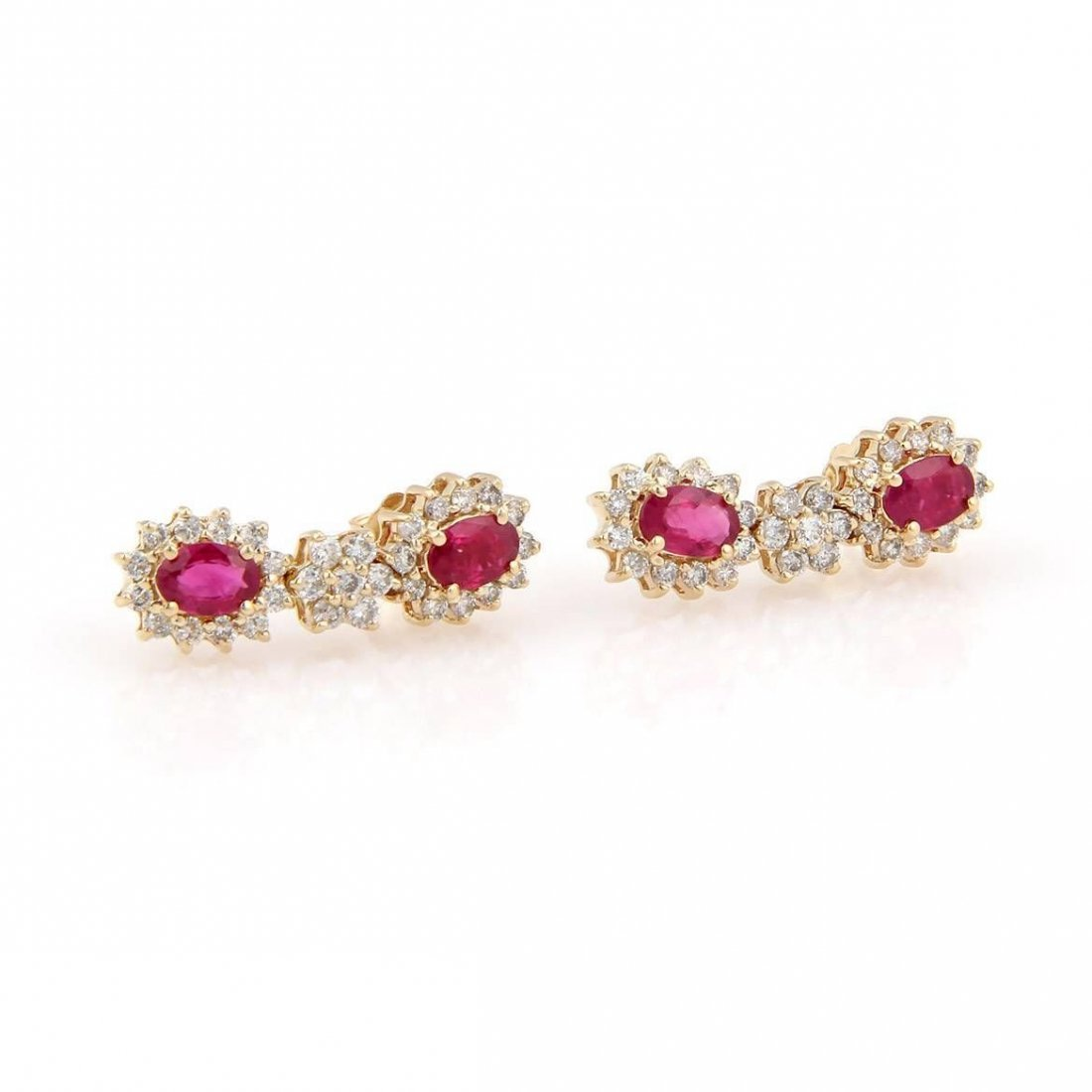 Estate 14K Yellow Gold Ruby & Diamond Dangle Drop