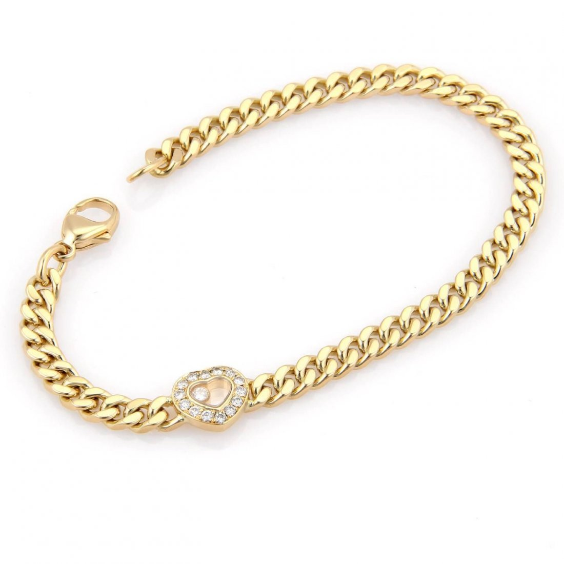 Chopard 18K Yellow Gold Happy Diamonds Heart Curb Link