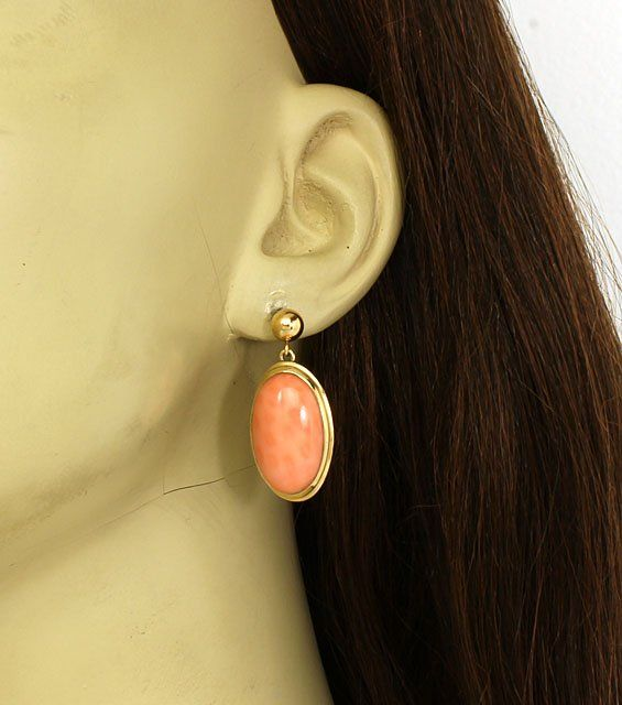 STYLISH VINTAGE 14K GOLD & ITALIAN PINK CORAL LADIES