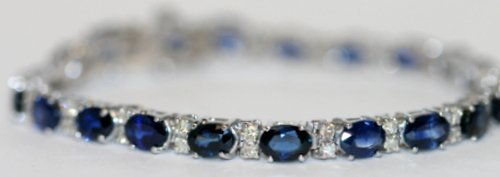 HAND MADE LADIES 14K WT/ GOLD DIAMOND AND SAPPHIRE