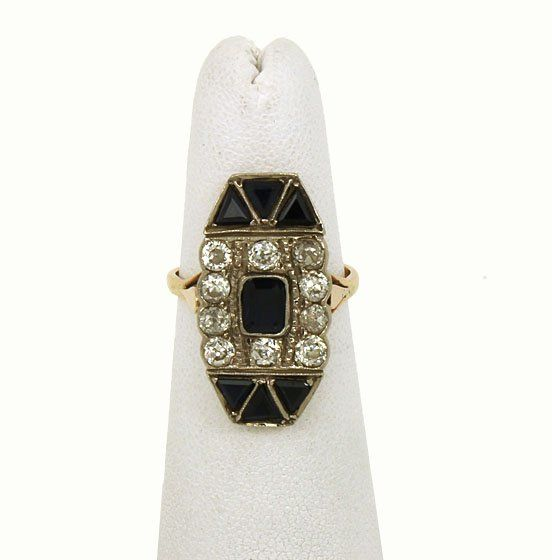 VINTAGE ART DECO 14K GOLD, OMC DIAMONDS & SAPPHIRE RING