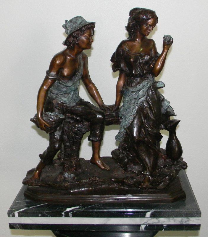 BRONZE MAN & WOMAN SITTING ON MARBLE BASE