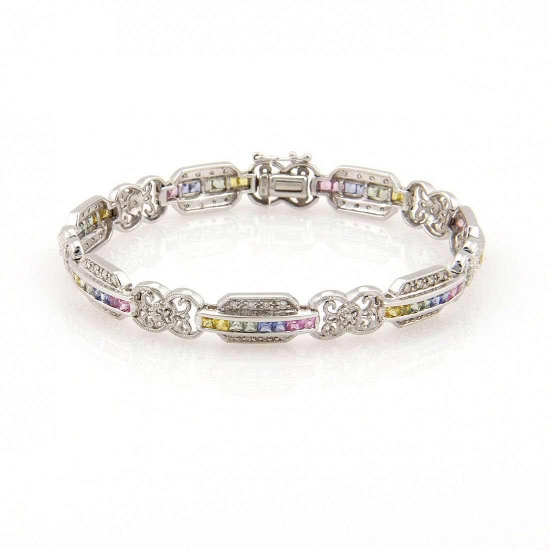 Estate 14K White Gold Diamond & Rainbow Sapphire Link