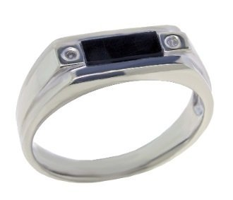 10k White Gold Onyx and Diamond Ring
