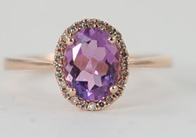 GORGEOUS AMETHYST R/G & DIAMOND RING