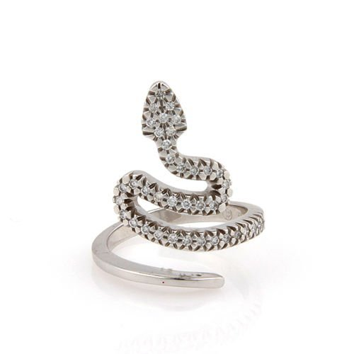 Estate 18K White Gold Diamond Snake Fashion Ring - Size