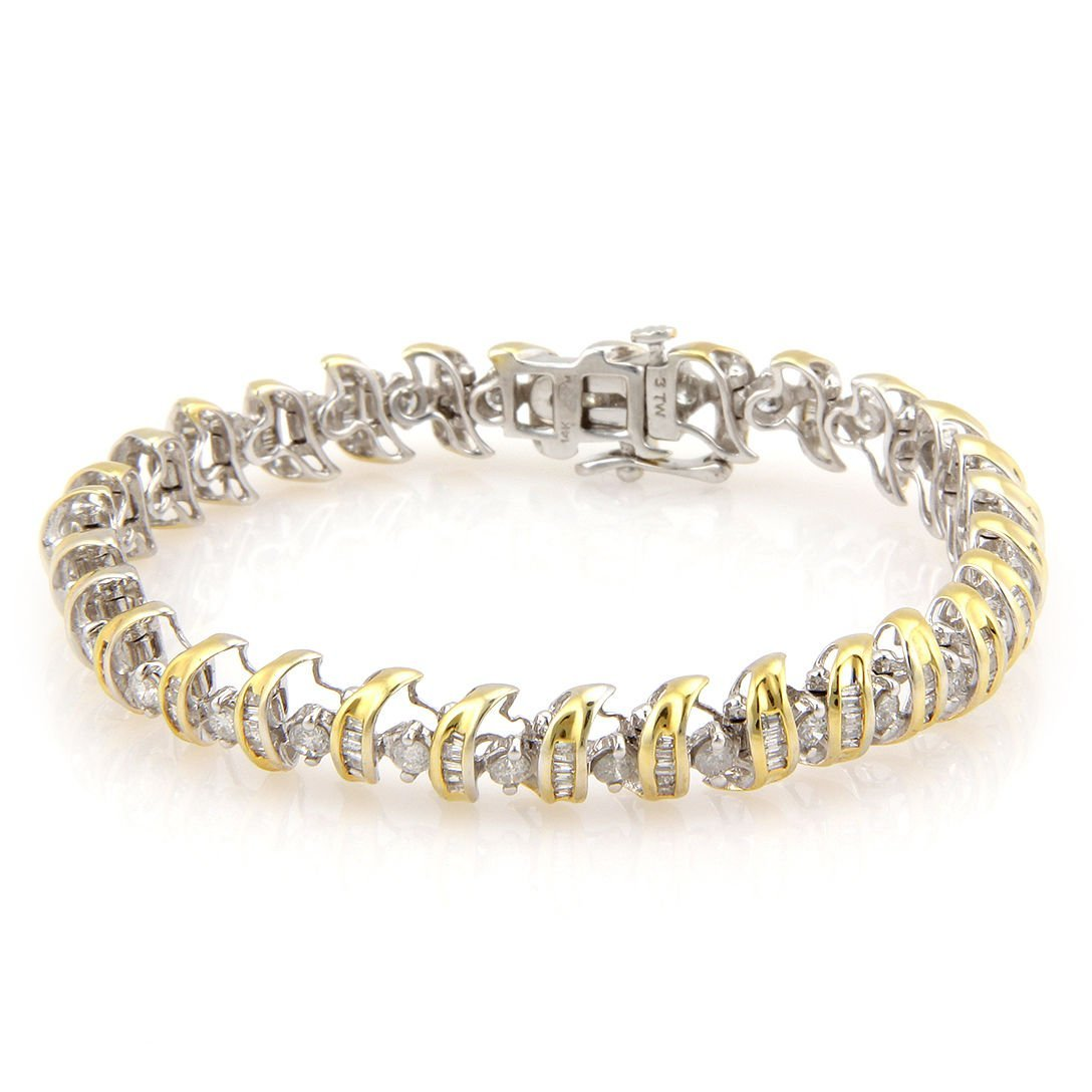 Estate 14K White & Yellow Gold 3ct Fancy Diamond Tennis