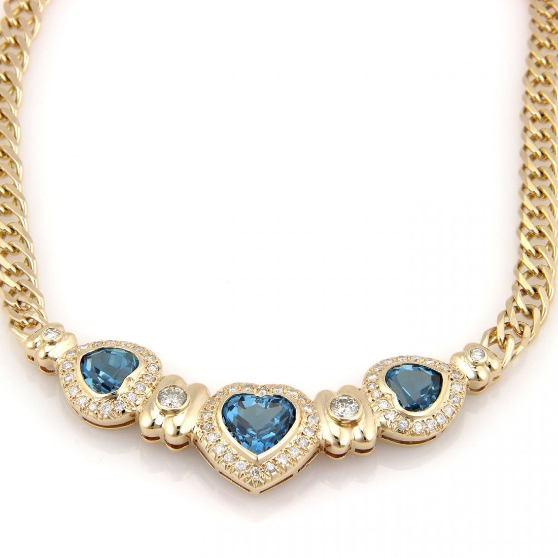 Estate Italian 14K Yellow Gold Blue Topaz & Diamond