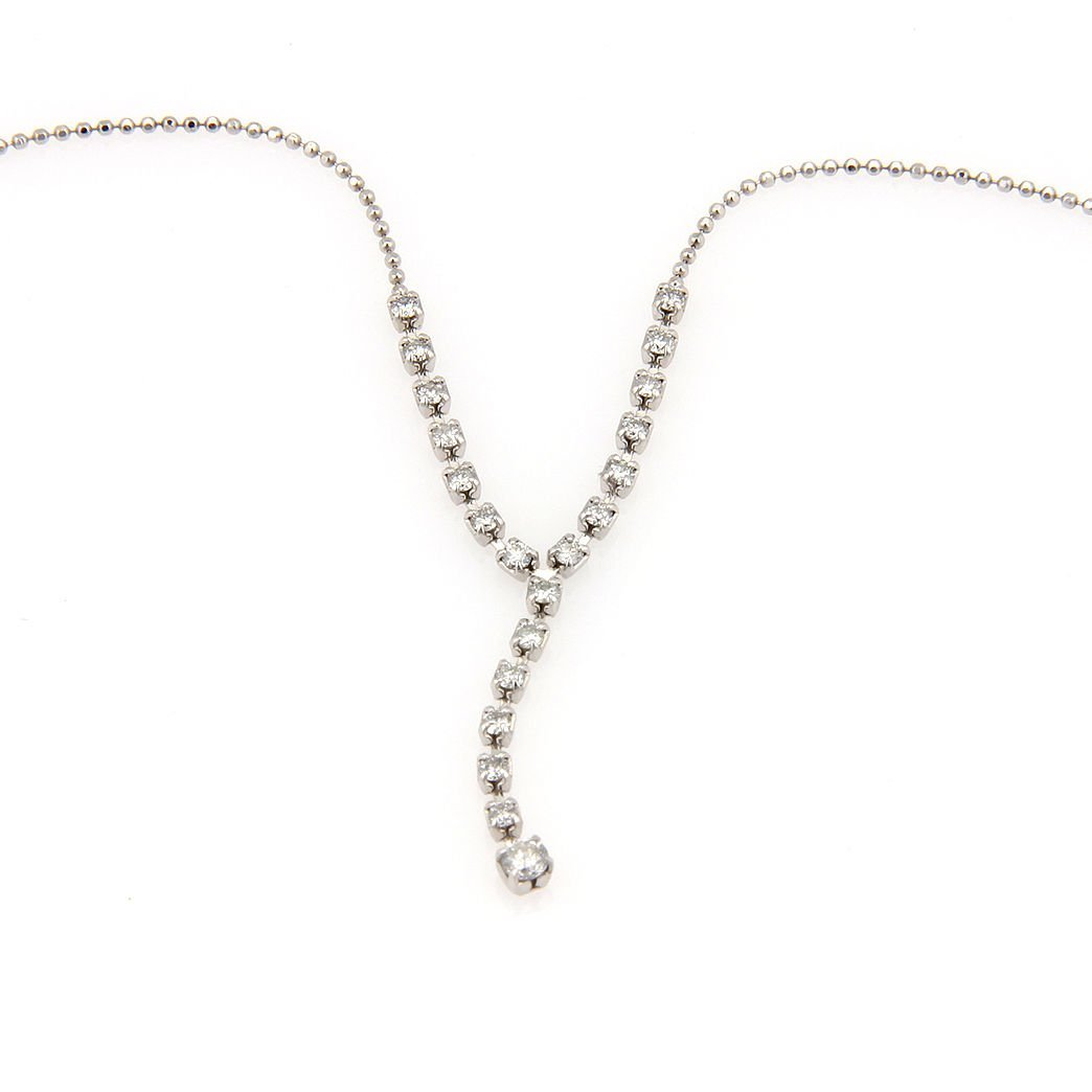 Estate Ladies Platinum Diamond Dangle Link Necklace
