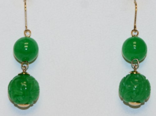 JADE AND 14K Y/ GOLD DROP EARRINGS