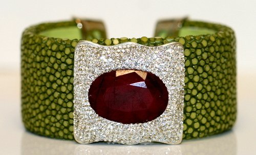 DESIGNER RUBY BANGLE BRACELET SET WITH LEATHER AND