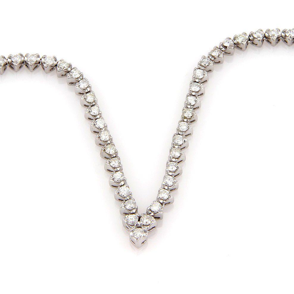 Estate 14K White Gold 8ct Diamond V Shape Heart Link