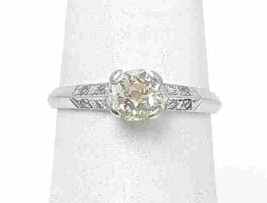VINTAGE 14k WHITE GOLD & 75 PT DIAMONDS SOLITAIRE W/