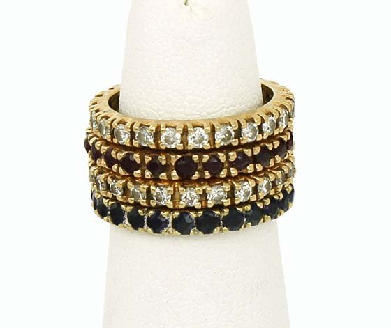 VINTAGE DIAMONDS, RUBIES SAPPHIRES 14K STACK BAND RINGS