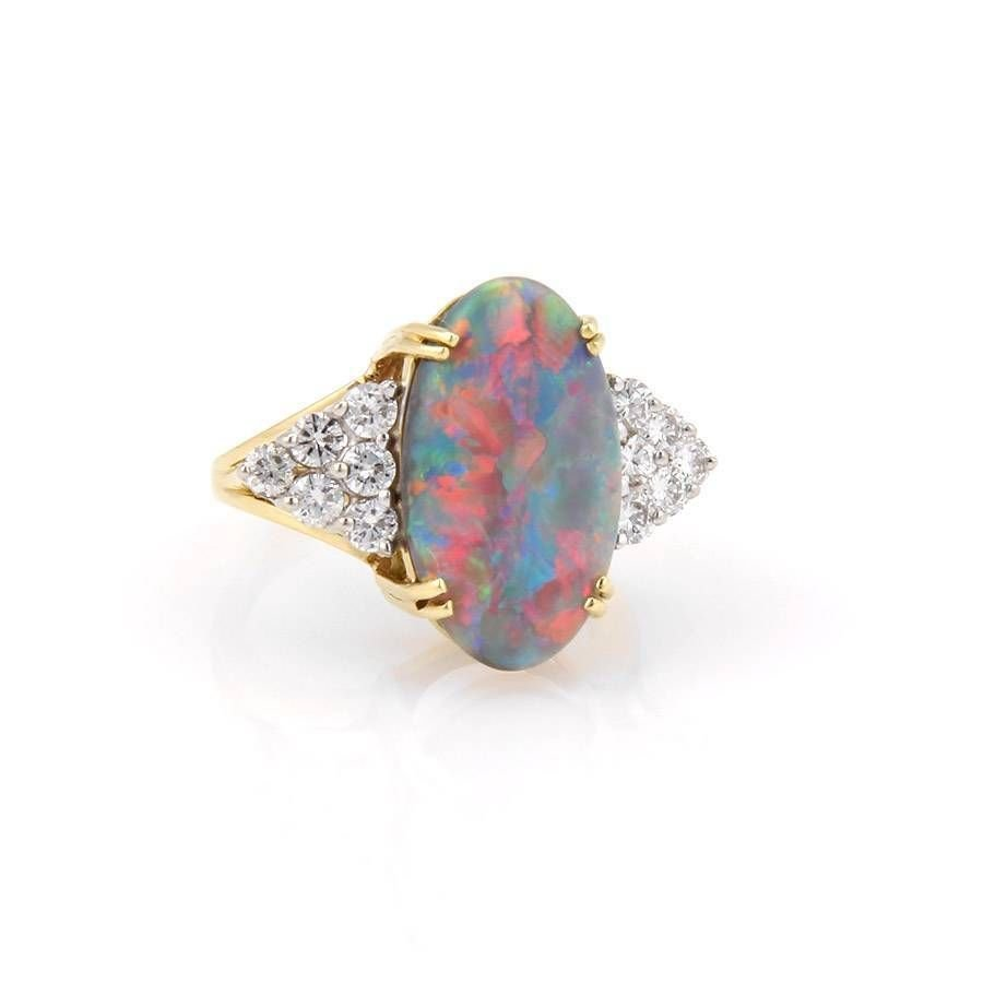 Estate 18K Yellow Gold 4.3ct Black Opal & Diamond