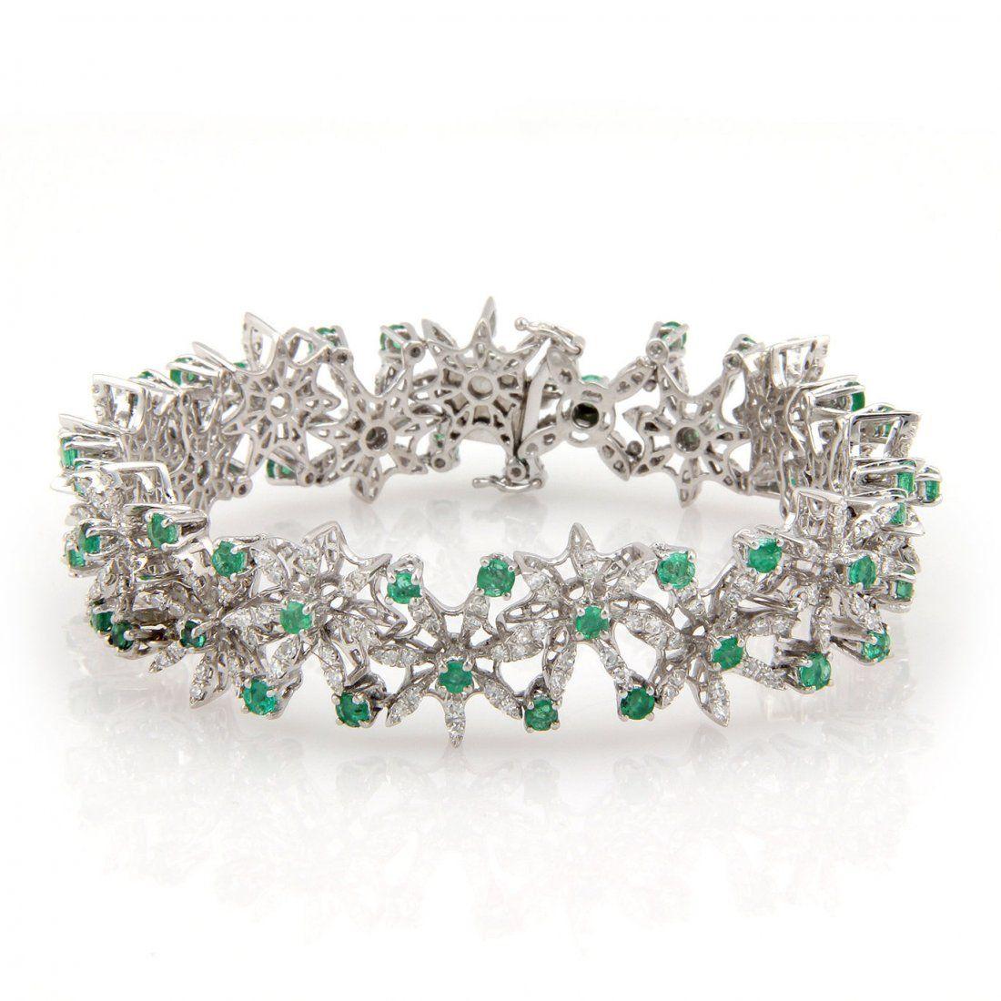 Estate 18K White Gold Diamond & Emerald Fancy Link