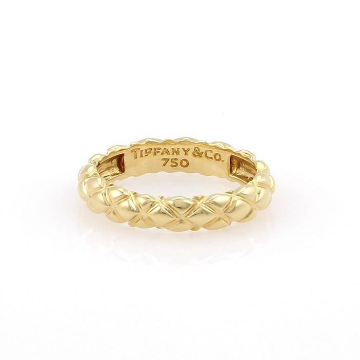 Tiffany & Co. 18K Yellow Gold 4mm Basket Woven Band