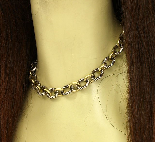 DAVID YURMAN STERLING SILVER & 18K GOLD STYLISH CHAIN