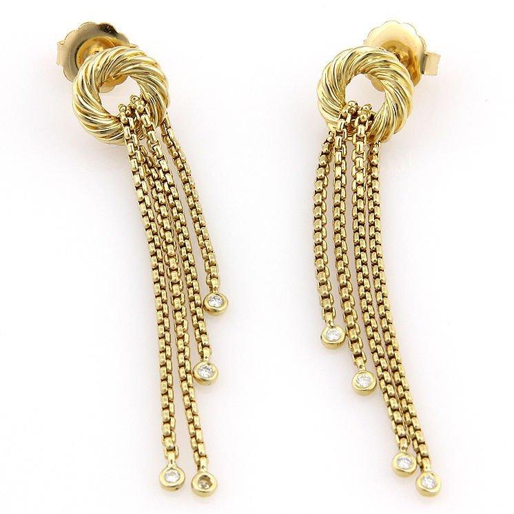 David Yurman 18K Yellow Gold Silk Tassel Diamond Dangle