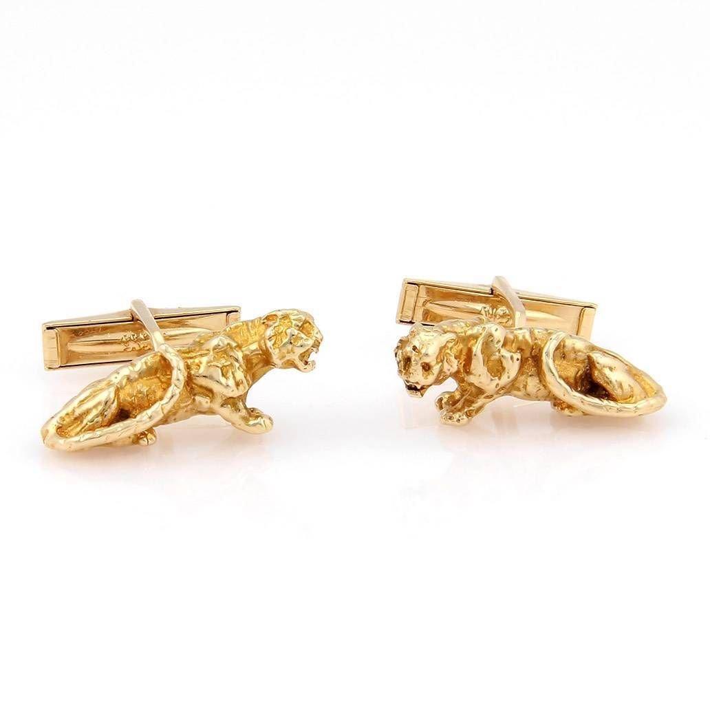 Estate 14K Yellow Gold Panther Cufflinks