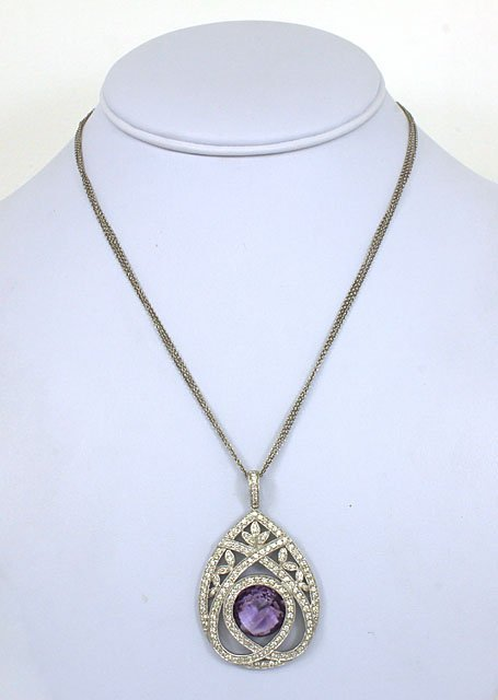 18K GOLD, DIAMONDS & 8 CT AMETHYST LADIES PENDANT W/