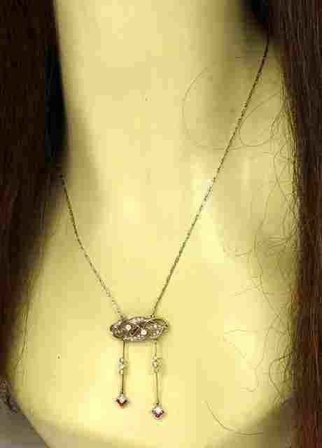 VINTAGE ART DECO 18K GOLD, PLATINUM, DIAMONDS & RUBIES